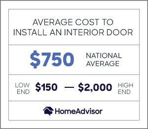 the average cost to install an interior door is $750 or $150 to $2,000.