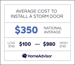 the average cost to install a storm door is $350 or $100 to $980.