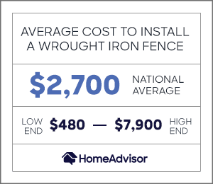 the average cost to install a wrought iron fence is $2,700 or $480 to $7,900.