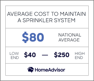 the average cost to maintain a sprinkler system is $80 or $40 to $250.