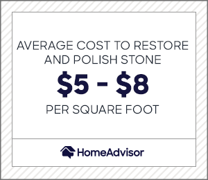 the average cost to restore and polish stone is $5 to $8 per square foot.