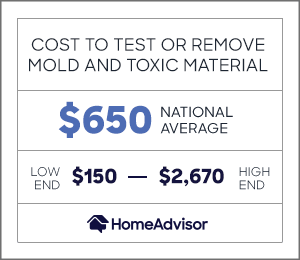 the average cost to test or remove mold is $650 or $150 to $2,670.