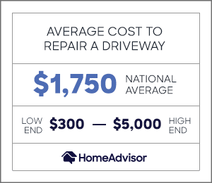 the average cost to repair a driveway is $1,750 or $300 to $5,000.