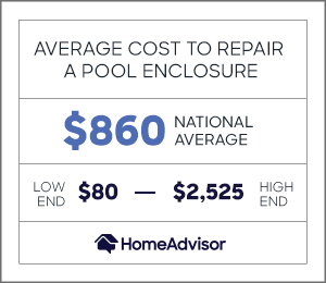 the average cost to repair a pool enclosure is $860 or $80 to $2,525.