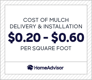 the cost of mulch delivery and installation is $0.20 to $0.60 per square foot.