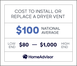 the cost to install or replace a dryer vent is $100 or $80 to $1,000.