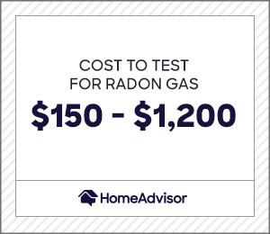 the cost to test for radon gas is $150 to $1,200.