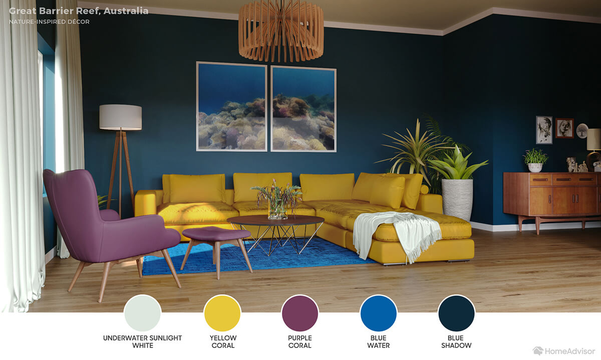 Modern living room with ocean teal blue walls, yellow sectional and purple chair.