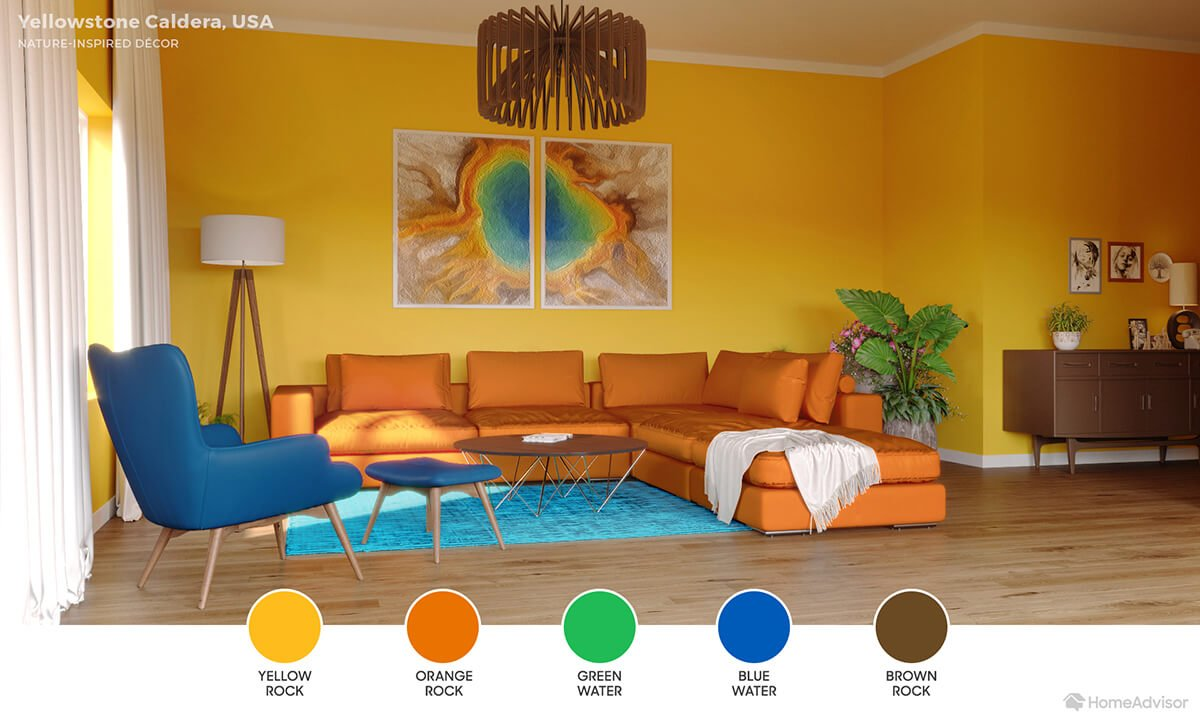Modern living room with vivid yellow walls, orange sectional, teal rug and deep blue chair.