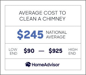 the average cost to clean a chimney is $245 or $90 to $925.