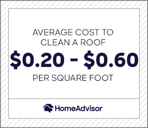 the average cost to clean a roof is $0.20 to $0.60 per square foot.