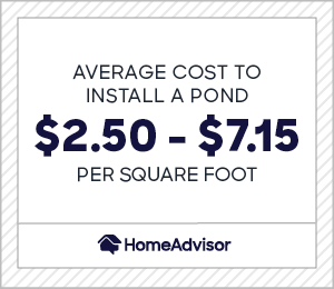 the average cost to install a pond is $2.50 to $7.15 per square foot
