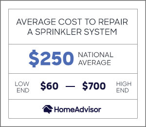 the average cost to repair a sprinkler system is $250 or $60 to $700.