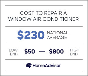 the average cost to repair a window air conditioner is $230 or $50 to $800.