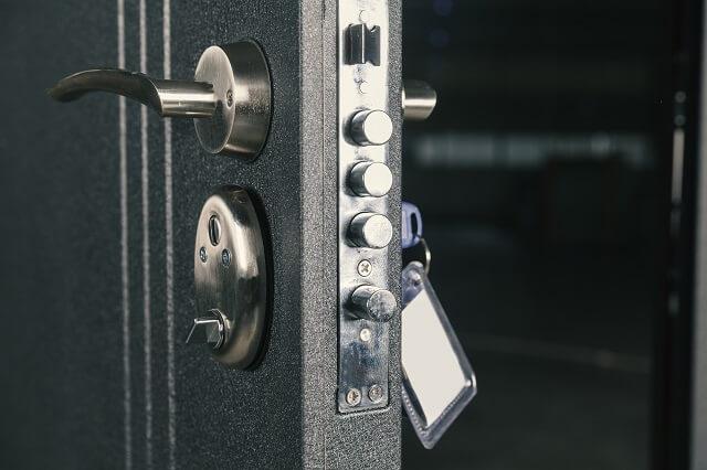 close-up of a front door lock