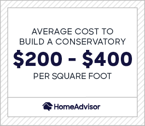 Average cost to build a conservatory is between $200 and $400