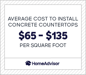 Average cost to install concrete countertops is $65 to $135