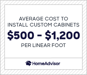 the average cost to install custom cabinets is $500 to $1,200 per linear foot