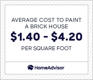 Average cost to paint a brick house is $1.40 and $4.20 per square foot