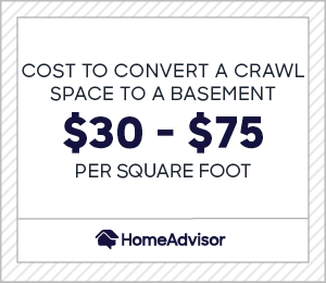 Cost to convert a crawl space to a basement is between $30 and $75