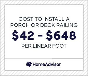 cost to install porch or deck railing is $42 to $648 per linear foot