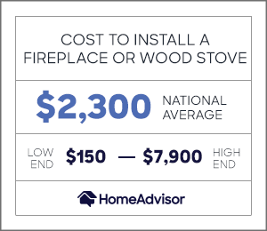 the cost to install a fireplace or a wood stove is $2,300 on average