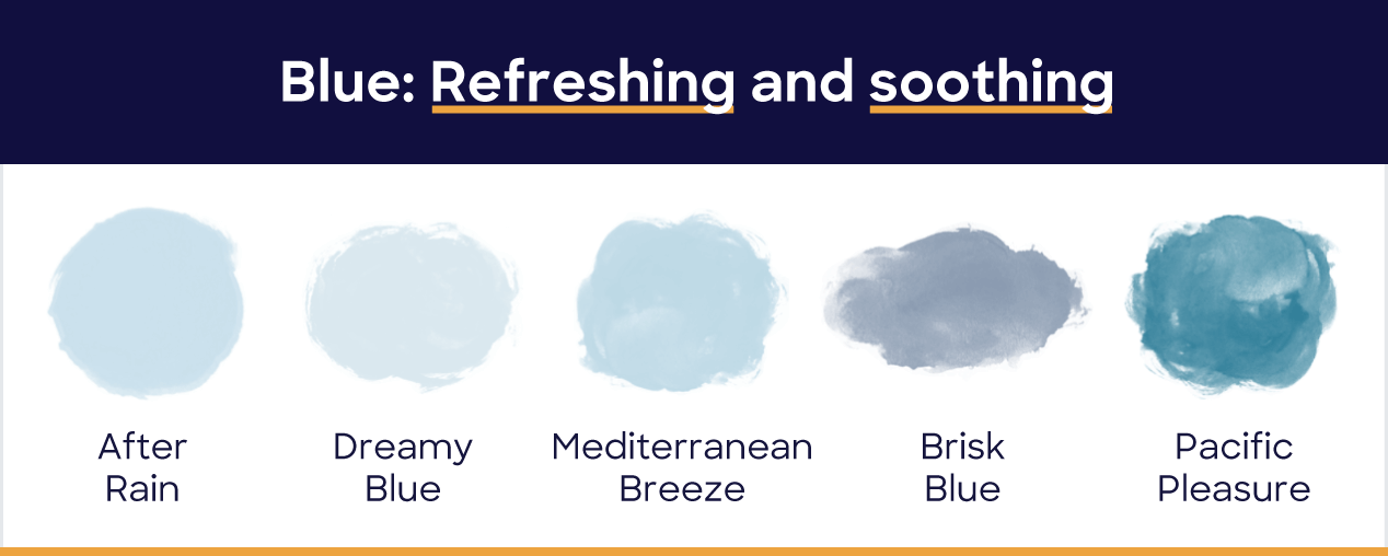 Blue: refreshing and soothing. After rain, dreamy blue, mediterranean breeze, brisk blue, pacific pleasure