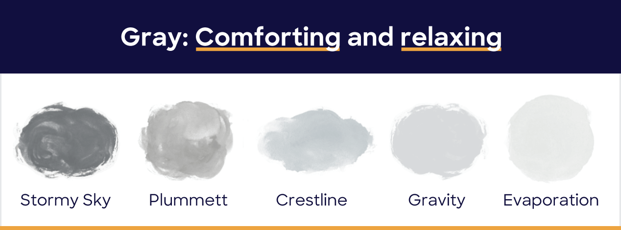 Gray: comforting and relaxing. Stormy sky, plummett, crestline, gravity, evaporation
