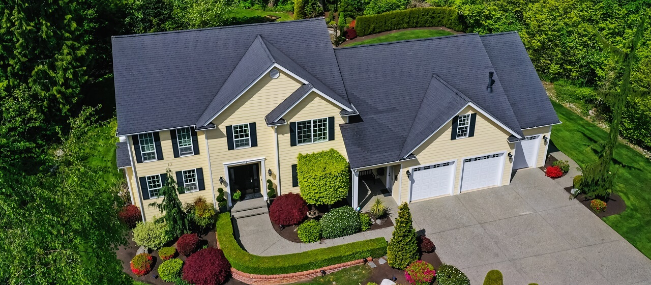 aerial view of residential house roof