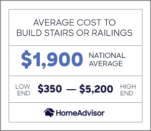 the average cost to build stairs or railings is $1,900 or $350 to $5,200