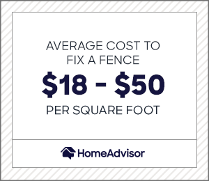 the average cost to fix a fence is $18 to $50 per square foot.