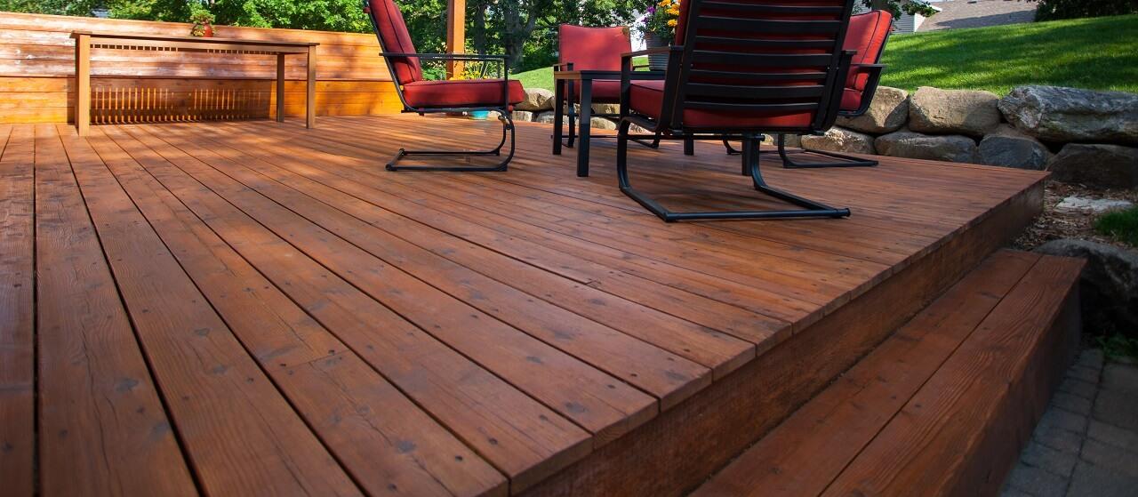 close-up of a cedar deck