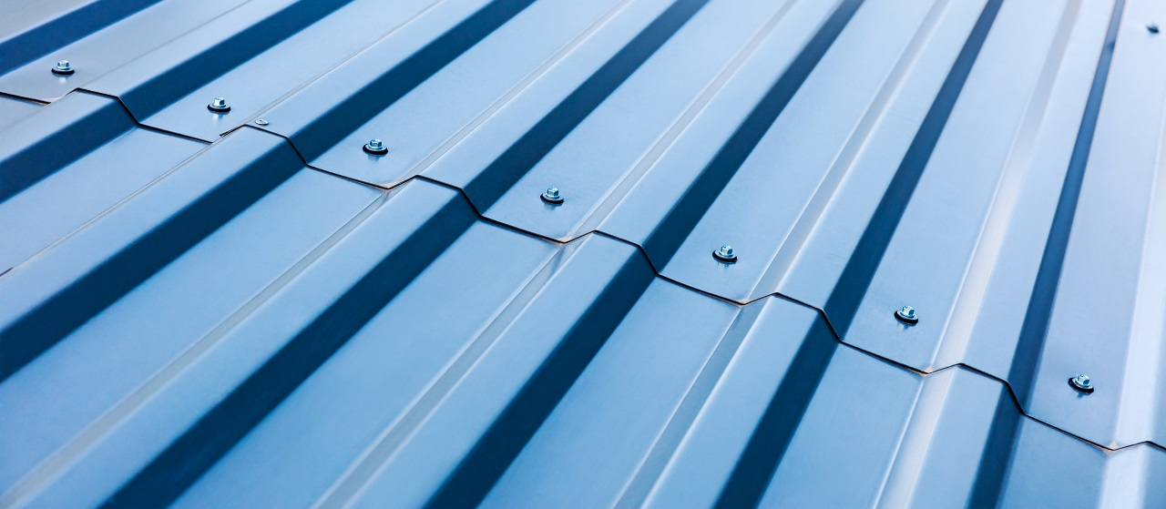 close-up of corrugated metal
