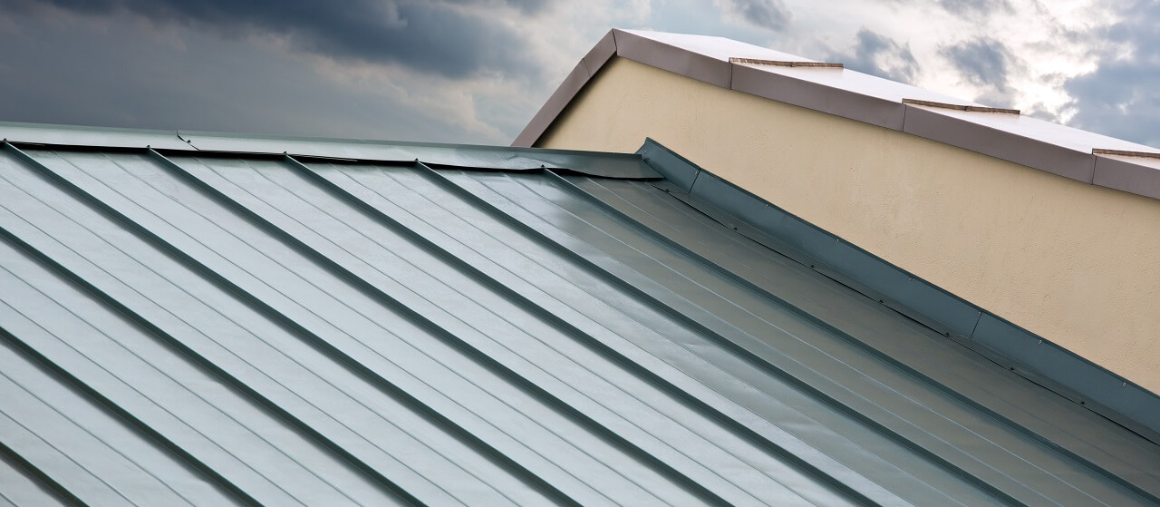 close-up of metal roof