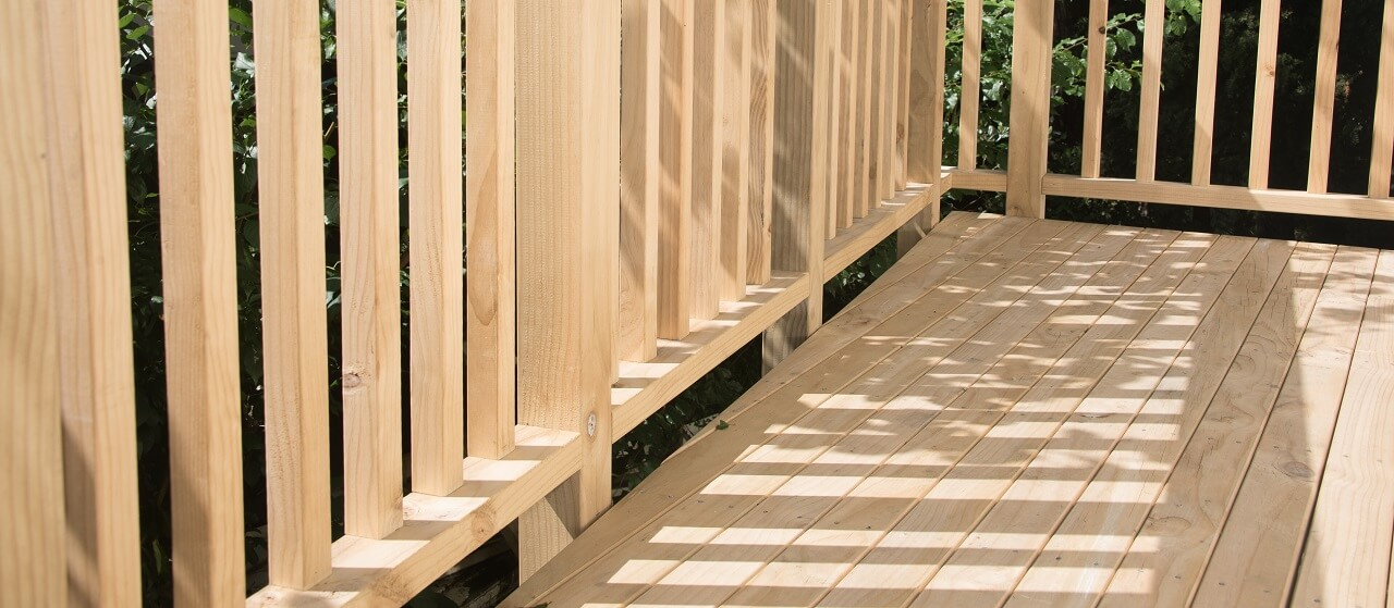 pressure-treated pine deck