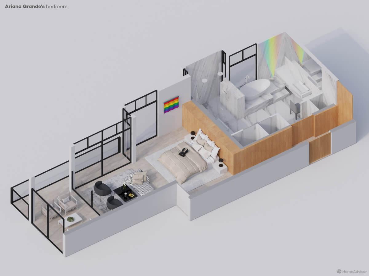 Ariana Grande bedroom 3D rendering