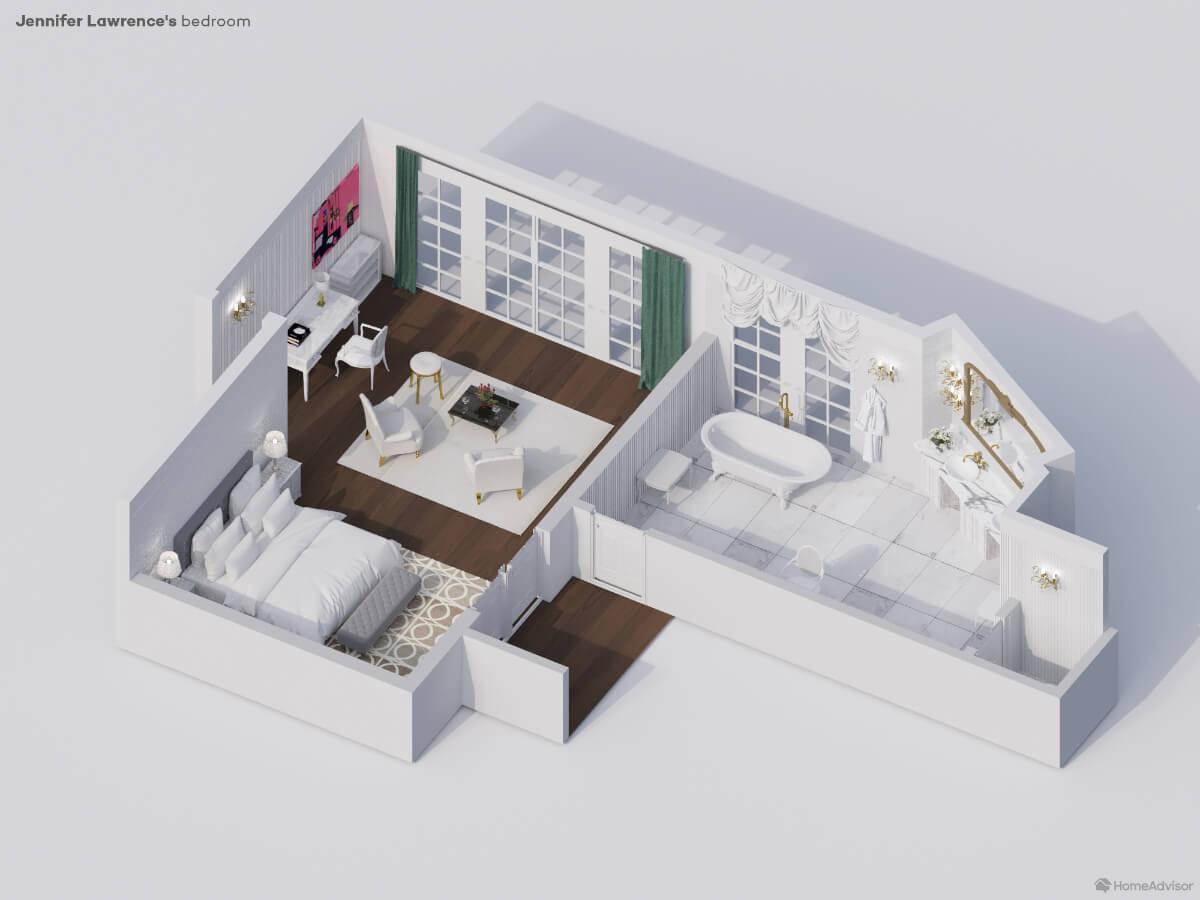 Jennifer Lawrence bedroom rendering