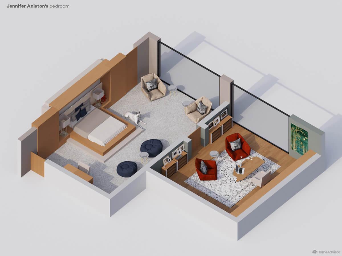 3D rendering of Jennifer Aniston's bedroom