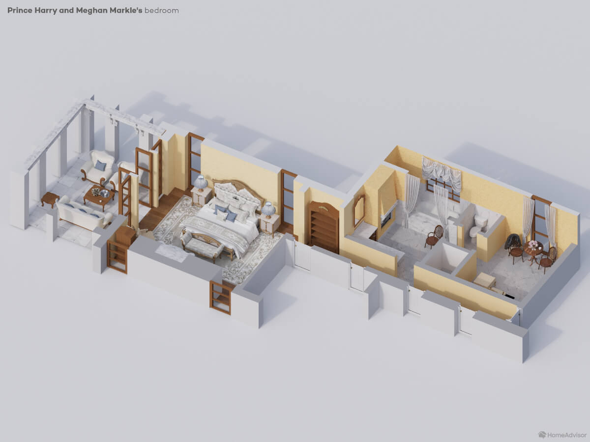 rendering of master bedroom of Prince Harry and Meghan Markle
