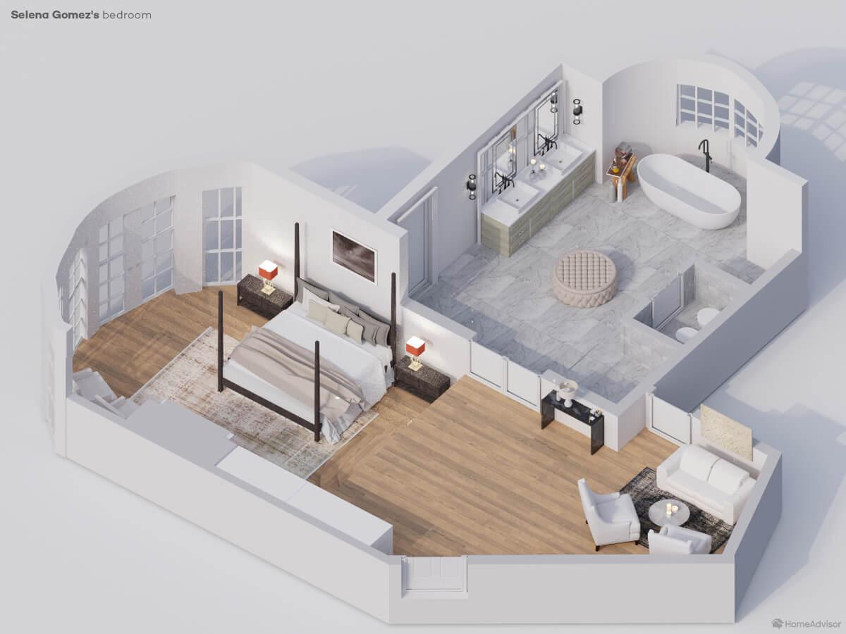 Selena Gomez's bedroom rendering