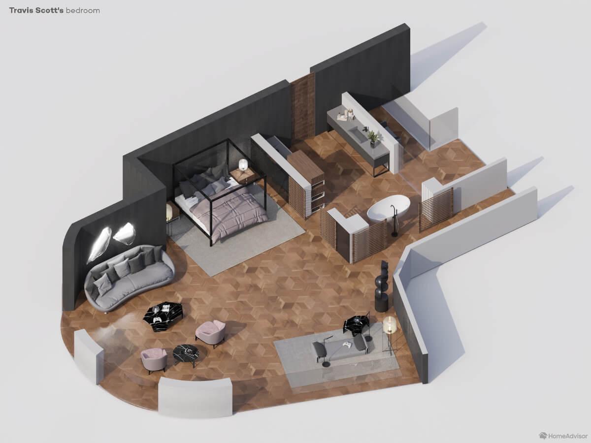 Travis Scott's 3D rendered bedroom
