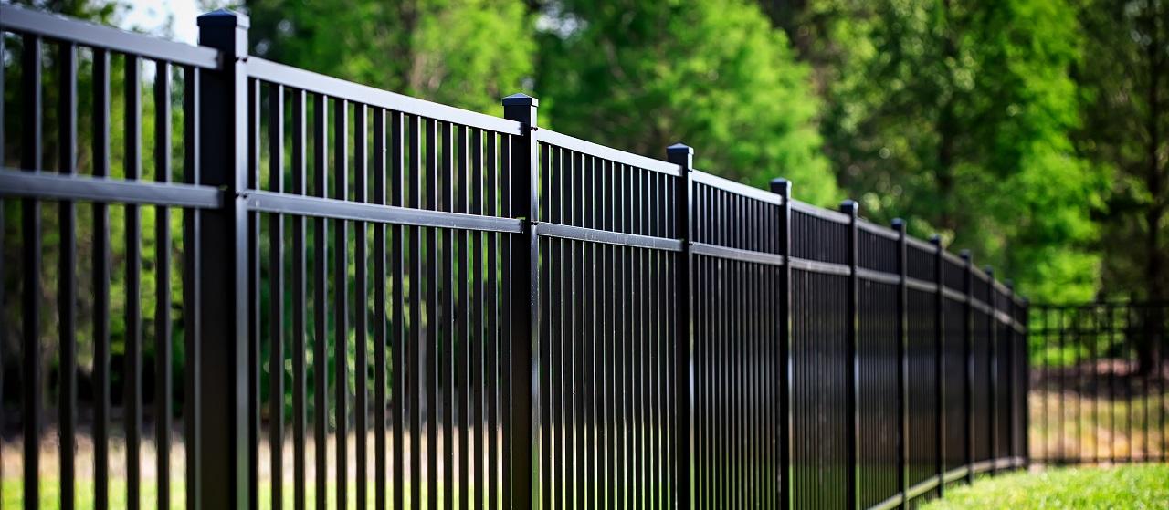 close-up of black aluminum fence