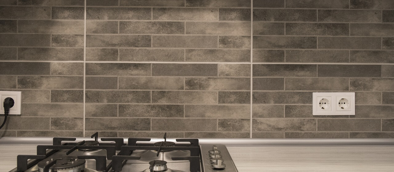 brick backsplash in a kitchen