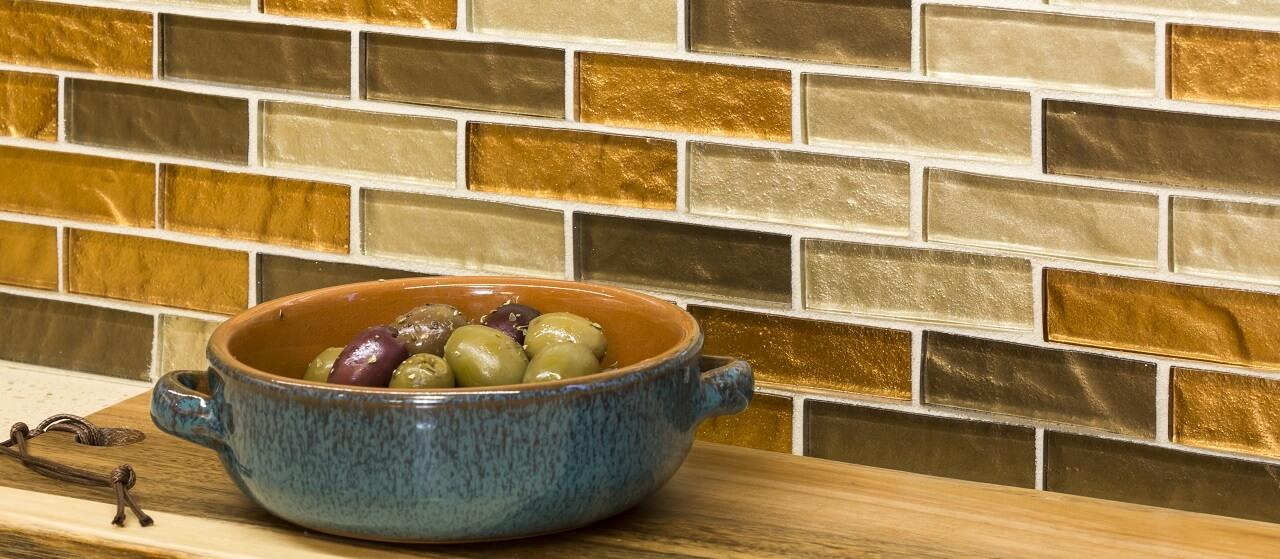 glass mosaic backsplash in a kitchen