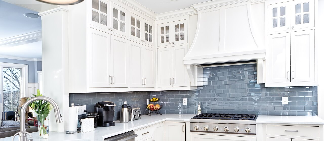 close up of a blue kitchen backsplash