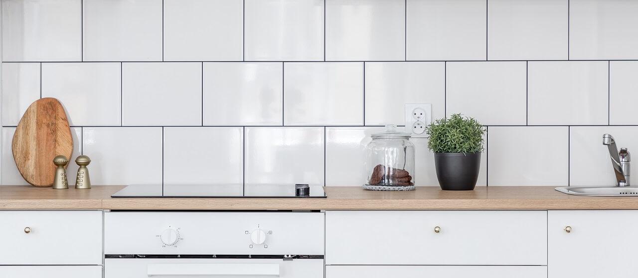 close-up of a tile backsplash in a kitchen