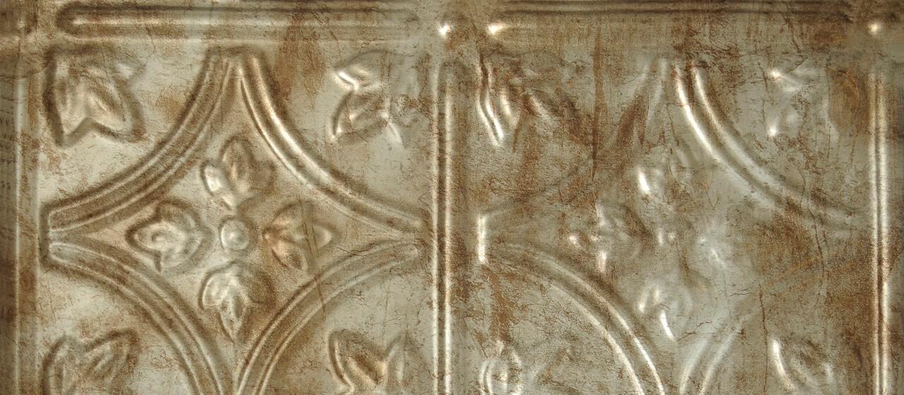 close-up of a tin backsplash