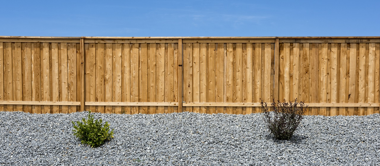 close up of a wood privacy fence