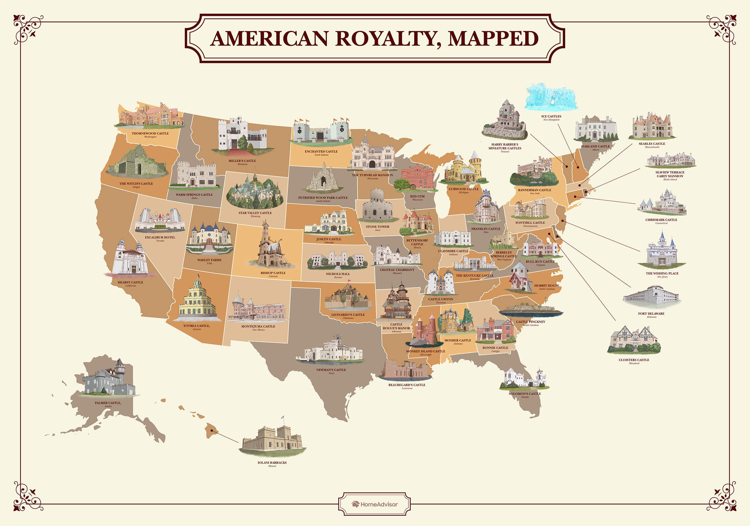 map of united states with castles