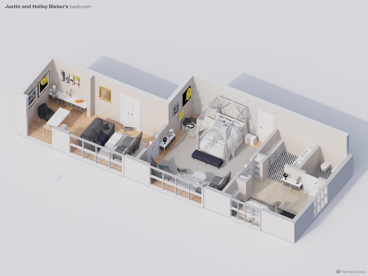 3d rendering of Justin Bieber's bedroom